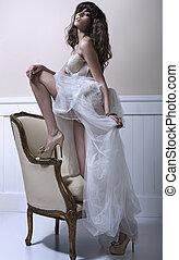 gyönyörű, menyasszony, cipők, high-heel, fiatal