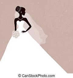 gyönyörű, menyasszony, csokor