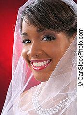 gyönyörű, menyasszony, headshot, képben látható, piros háttér