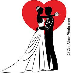 gyönyörű, menyasszony inas