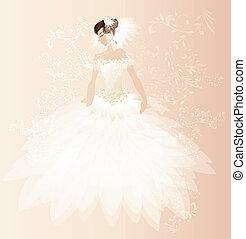 gyönyörű, menyasszony, kártya
