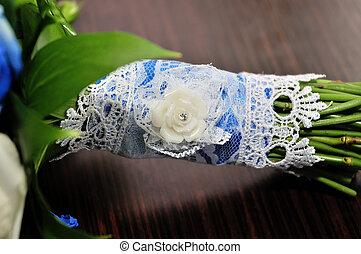gyönyörű, menyasszony, noha, esküvő bouquet