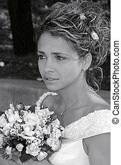 gyönyörű, menyasszony, portré