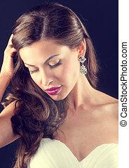 gyönyörű, menyasszony, portré, képben látható, egy, sötét...