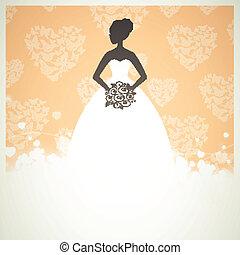 gyönyörű, menyasszony, vektor