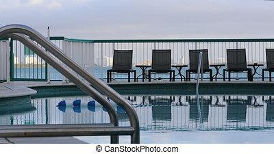gyönyörű, miami szálloda, tengerpart, pocsolya