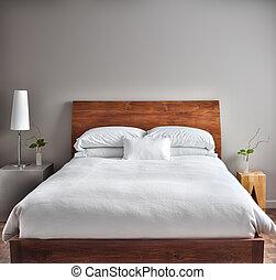 gyönyörű, modern, kitakarít, hálószoba