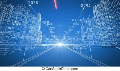 gyönyörű, modern, termeszt város, mozgató, through., digitális, 3, tervrajz, és, numbers., szerkesztés, és, technológia, concept., kék, szín, 3, animation.