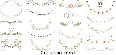 gyönyörű, monogram, állhatatos, floral elem