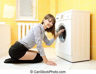 gyönyörű, mosás, mesterkéletlen gép, közönséges, leány