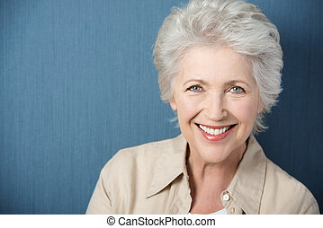 gyönyörű, mosoly, hölgy, élénk, öregedő