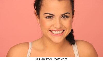 gyönyörű, mosoly, sugárzó, nő