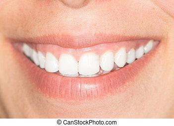 gyönyörű, mosoly, white fog