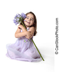 gyönyörű, mosolygós, virág lány, meglehetősen