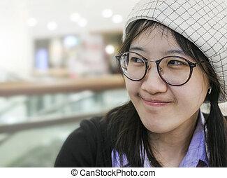 gyönyörű, mosolyog woman, ázsiai
