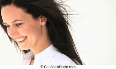 gyönyörű, mosolyog woman