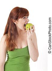 gyönyörű, nő, étkezési, fiatal, alma