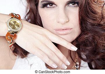 gyönyörű, nő, óra