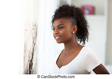 gyönyörű, nő, emberek,  -, amerikai, fekete, afrikai, portré
