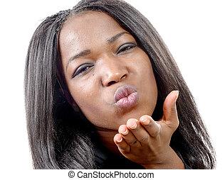 gyönyörű, nő, fiatal, amerikai, afrikai, portré