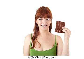 gyönyörű, nő, fiatal, birtok, csokoládé
