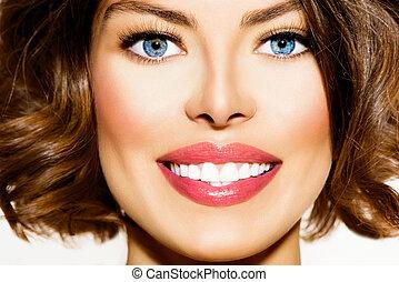 gyönyörű, nő, fiatal, Kifehéredik, closeup, fog, portré,...