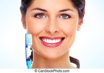 gyönyörű, nő, fogkefe