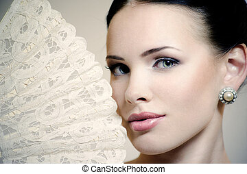 gyönyörű, nő, Rajongó