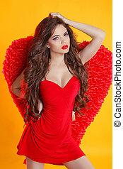 gyönyörű, női, angyal, formál, feltevő, noha, piros,...