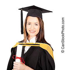 gyönyörű, női, diplomás, portré