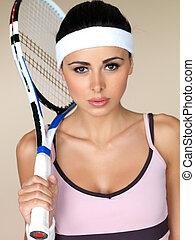 gyönyörű, női, teniszjátékos