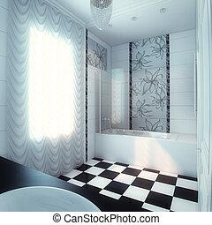 gyönyörű, nagy, fürdőszoba, fényűzés