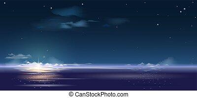 gyönyörű, napkelte, felett, tenger, háttér