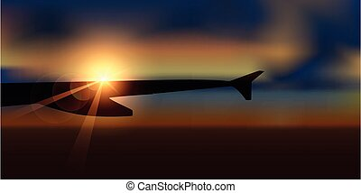 gyönyörű, napkelte, repülőgép, kilátás