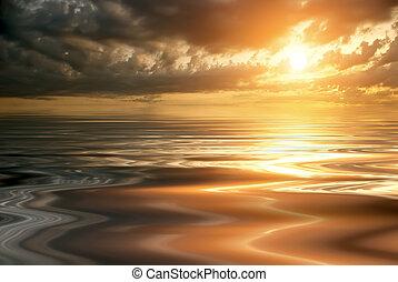 gyönyörű, napnyugta, és, egy, csendes, tenger