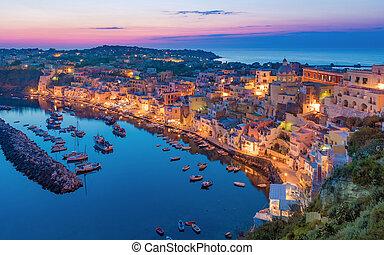 gyönyörű, napnyugta, alatt, procida, sziget, olaszország