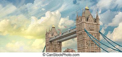 gyönyörű, napnyugta, befest, felett, híres, uralkodik bridzs, alatt, london