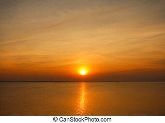 gyönyörű, napnyugta, felül, a, tenger