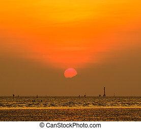 gyönyörű, napnyugta, felül, tenger