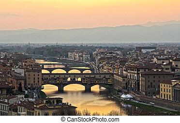 gyönyörű, napnyugta, felett, a, folyó arno, alatt, firenze, olaszország