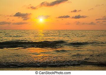 gyönyörű, napnyugta, felett, a, sea.