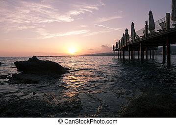 gyönyörű, napnyugta, felett, a, tenger