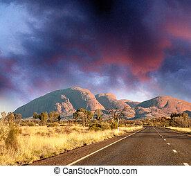 gyönyörű, napnyugta, felett, australian outback, út