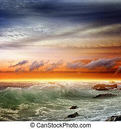 gyönyörű, napnyugta, tenger