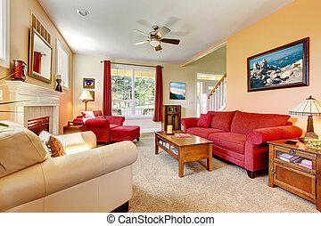 gyönyörű, nappali, őszibarack, belső, fireplace., piros