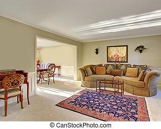 gyönyörű, nappali, decor., finom
