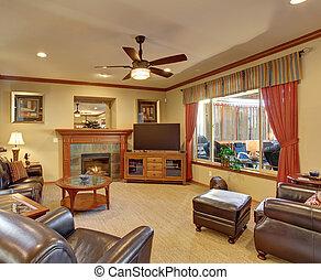 gyönyörű, nappali, decor.