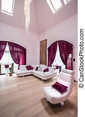 gyönyörű, nappali, lakályos