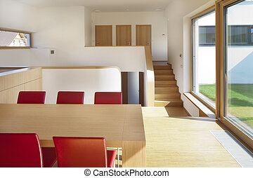 gyönyörű, nappali, modern, csendes, új, konyha