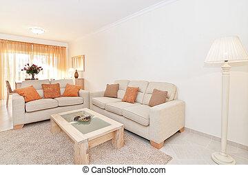 gyönyörű, nappali, modern, shade., meleg, colors.